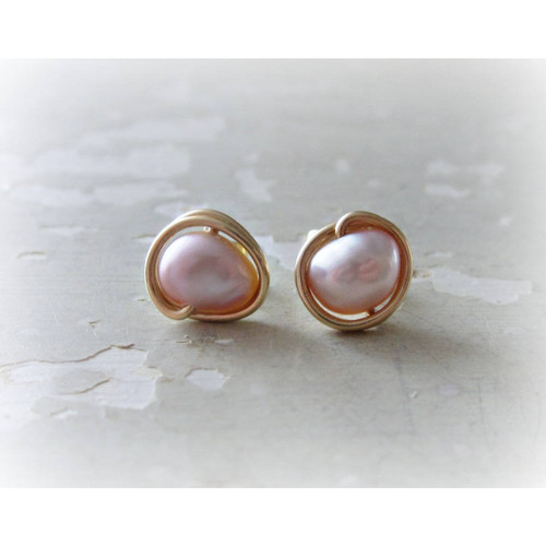 e9201e384 Buy Mauve Freshwater Pearl + Gold Stud Earrings from Contempo Jewelry  wholesale direct