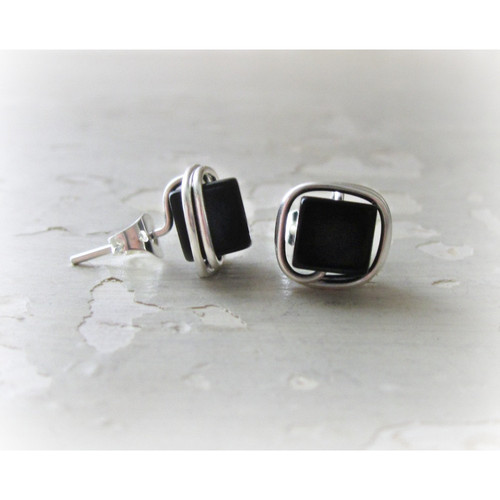 332bb3ee6 Buy Square Black Onyx Sterling Wire Wrap Stud Earrings from Contempo Jewelry  wholesale direct