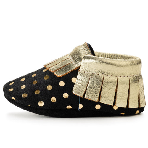 cd74309d5f11f Black And Gold Baby Moccasins