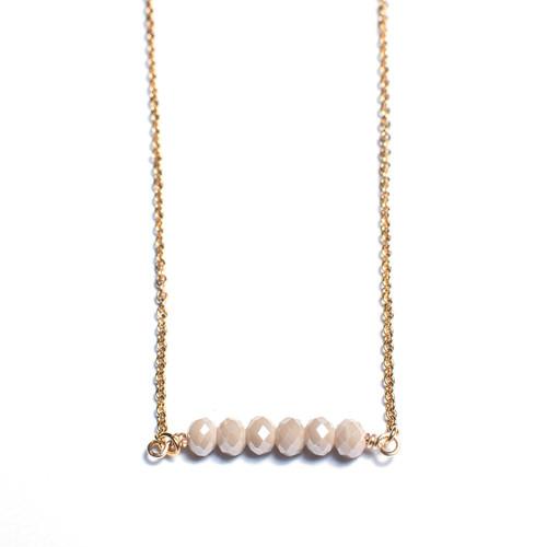 Beige Faceted Crystal Bar Necklace