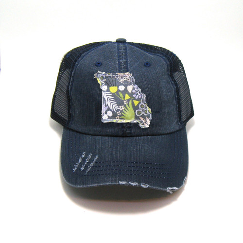 d9b0b86952d34 Buy Missouri Distressed Trucker Hat - Fabric State from Gracie Designs  wholesale direct