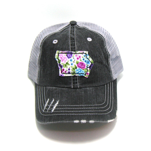 47aee4546566f Buy Iowa Distressed Trucker Hat - Fabric State from Gracie Designs  wholesale direct