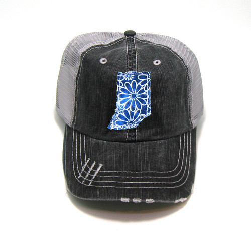 6dd41d23bc2d3 Buy Indiana Distressed Trucker Hat - Fabric State from Gracie Designs  wholesale direct
