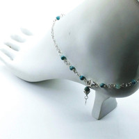 d6a7b43299e ... Buy Adjustable Silver   Turquoise Charm Ankle Bracelet from Lexi Butler  Designs wholesale direct ...
