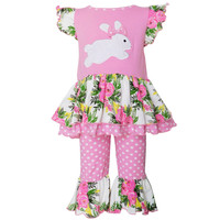 a762eb1f348 Buy Girls Pink Easter Bunny Floral Tunic/Capri Outfit from AnnLoren  wholesale direct
