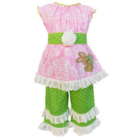 83cb327d052 Buy Girls Damask Pink Summer Bunny Tunic/Capri from AnnLoren wholesale  direct